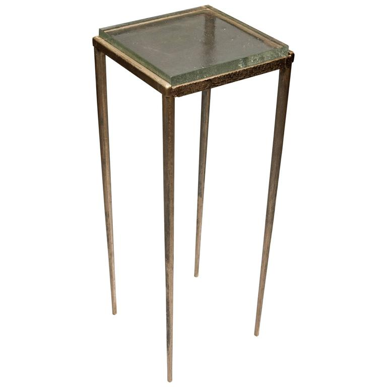 Contemporary Ash Side Table in Bronze and Glass