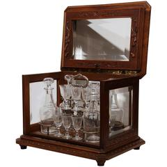 19th Century French Walnut Black Forest Cave a Liqueur with Hunt Carvings