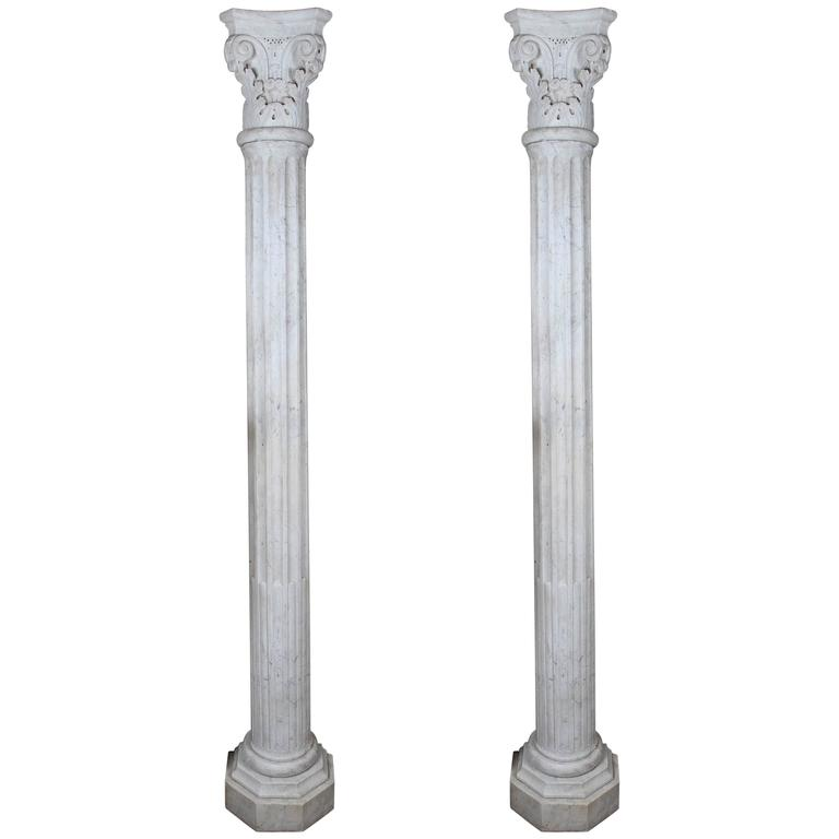 Pair of Early 19th Century Carved Marble Columns