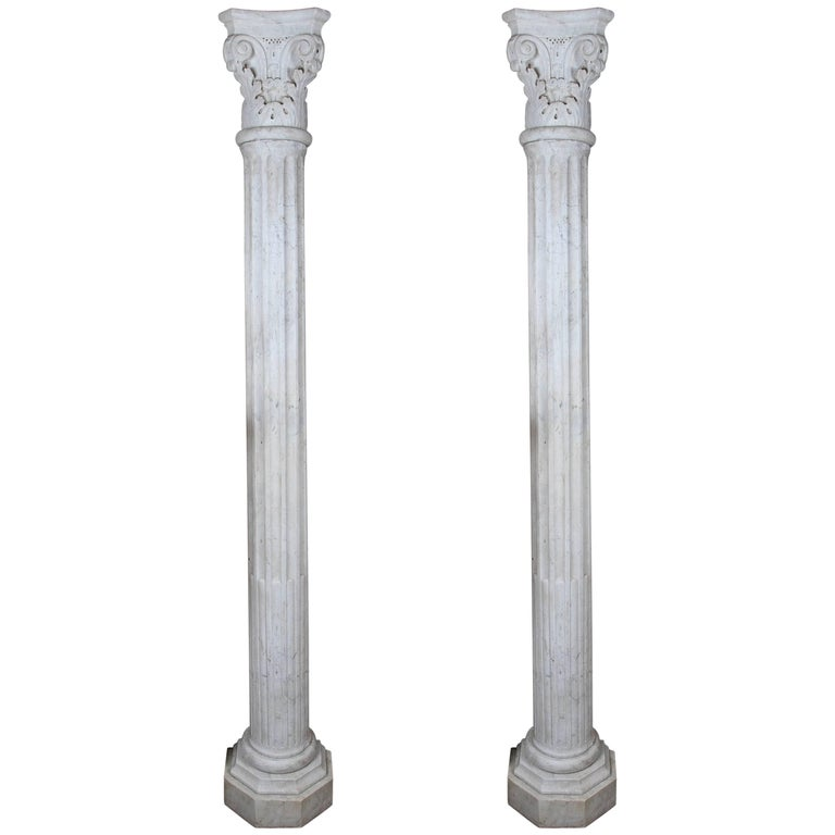 Pair of Early 19th Century Carved Marble Columns For Sale