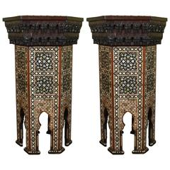 A Fine Pair of Moorish Mother-of-Pearl Inlaid Hexagonal Stands