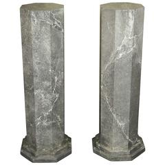 A Pair of Vintage Faux Marbre Columns