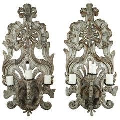 A Pair of 18th Century Italian Carved and Painted Three Candle Appliques