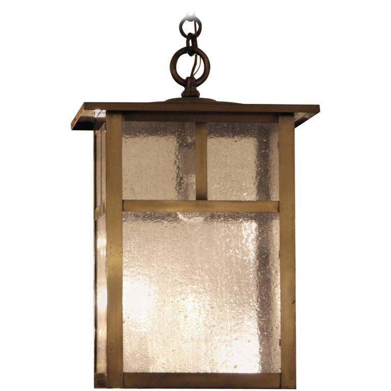 1980s Arts and Crafts Style Brass Lantern with Textured Clear Glass