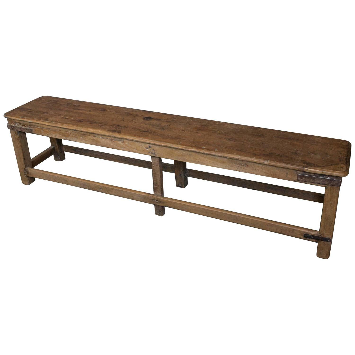 French Industrial Coffee Table: French Rustic Early 20th C. Wooden Industrial Bench At 1stdibs
