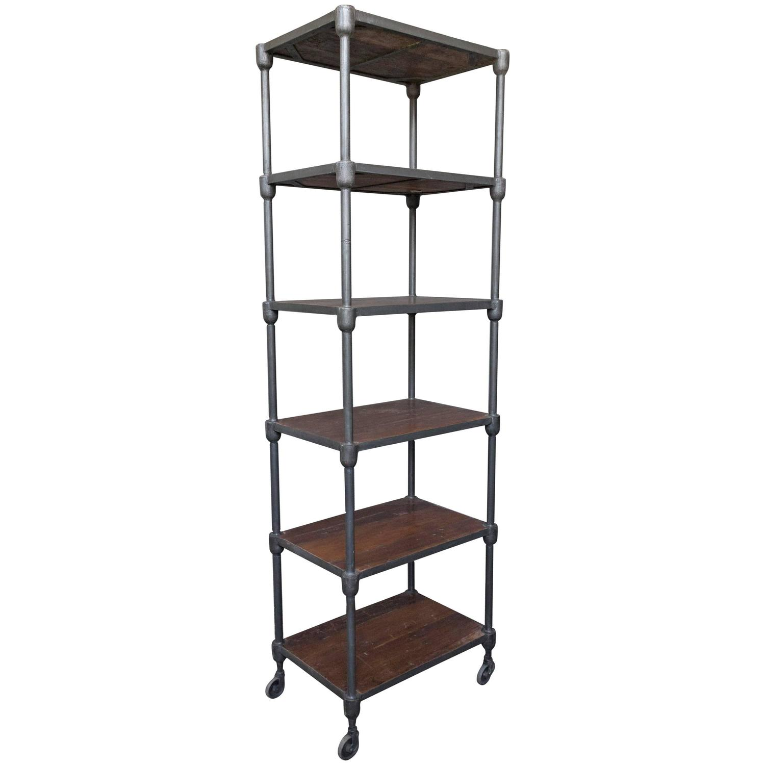 Very Impressive portraiture of Tall Wood and Metal Industrial Shelving Unit on Casters at 1stdibs with #5F4741 color and 1500x1500 pixels