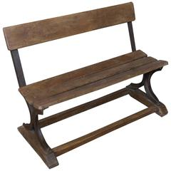 Anglo- Indian 1920s Small Wood and Iron Bench