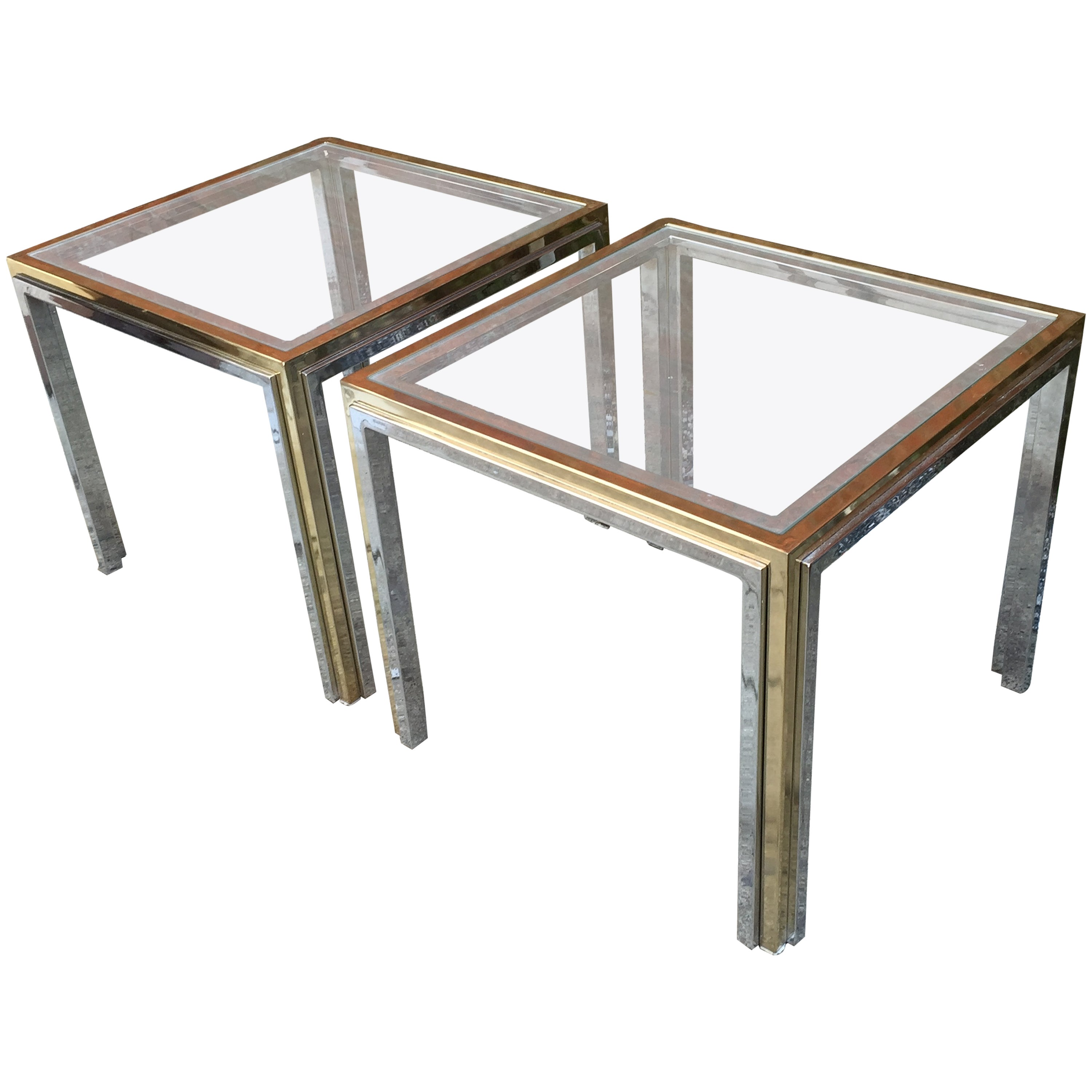 Romeo Rega Chrome Brass And Glass End Tables At 1stdibs
