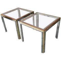 Romeo Rega Chrome, Brass and Glass End Tables