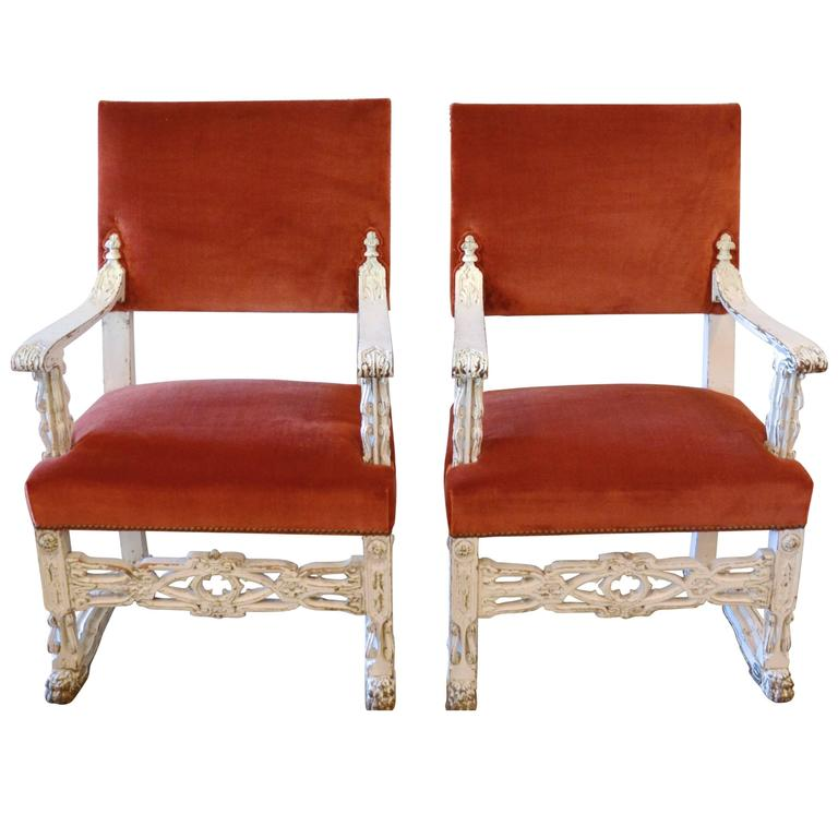 Neo-Gothic White Carved Armchairs, Pair