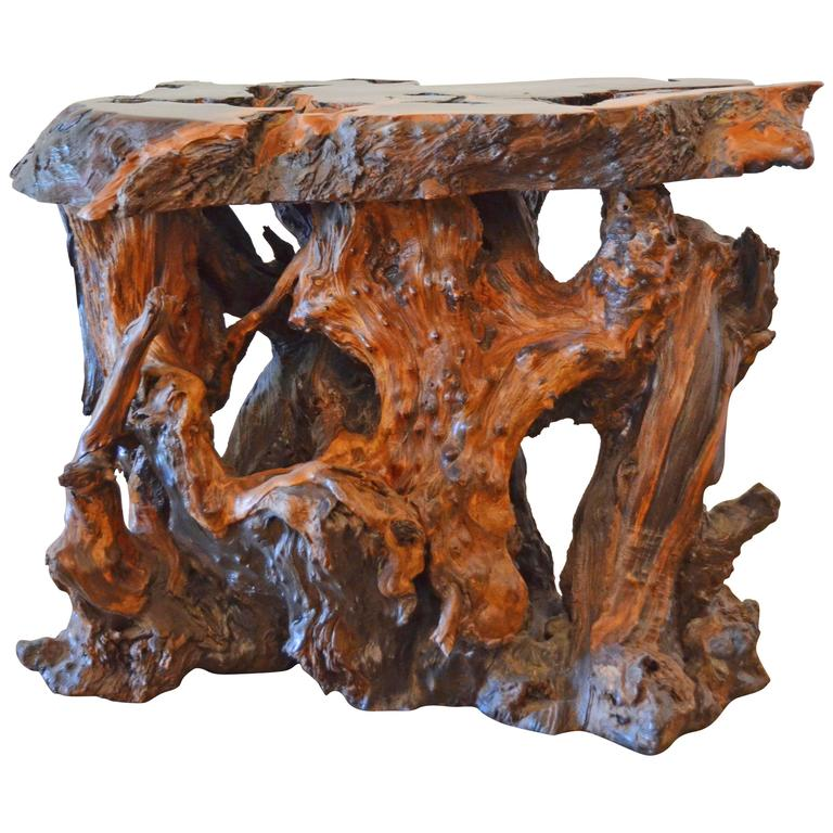 Vintage Live Edge Burl Slab Cocktail Table At 1stdibs: Mid-Century Redwood Burl End Or Side Table With Live Edge