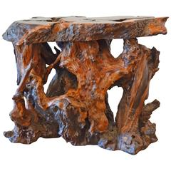 Mid-Century Redwood Burl End or Side Table with Live Edge