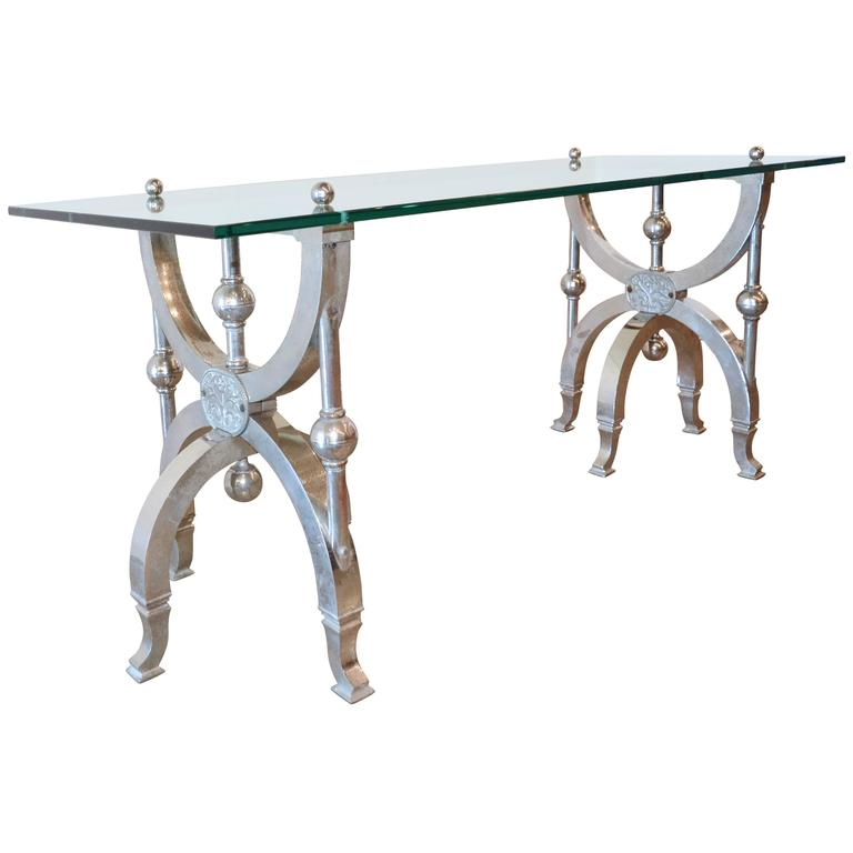Victorian Goes Modern, Nickel and Glass Occasional Table