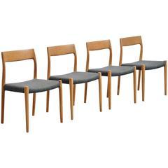 Niels Moller Model 77 Chairs in Oak, Denmark, 1959