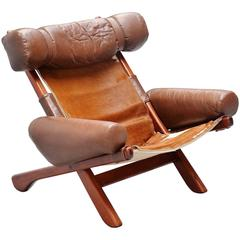Unusual Lounge Chair with Cow Skin Seat, Brazil, 1970