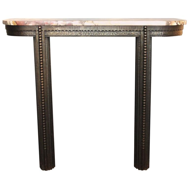 Style Edgar Brandt, Console, Iron and Marble, circa 1925, France