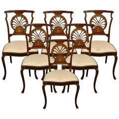 Set of Six Mahogany Inlaid Chairs