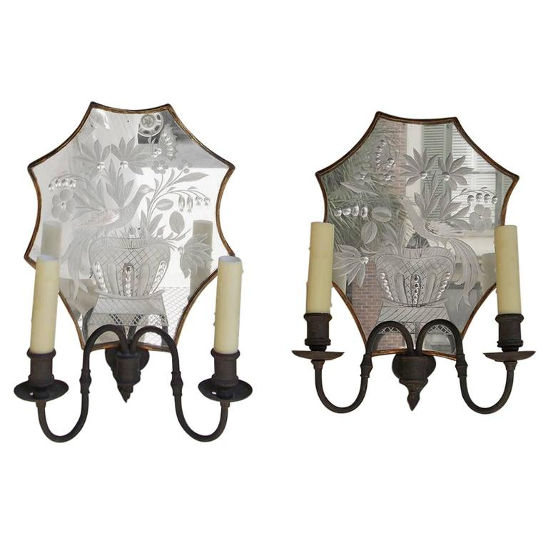 Pair of Venetian Bronze & Decorative Etched Mirrored Wall Sconces, C. 1800 For Sale