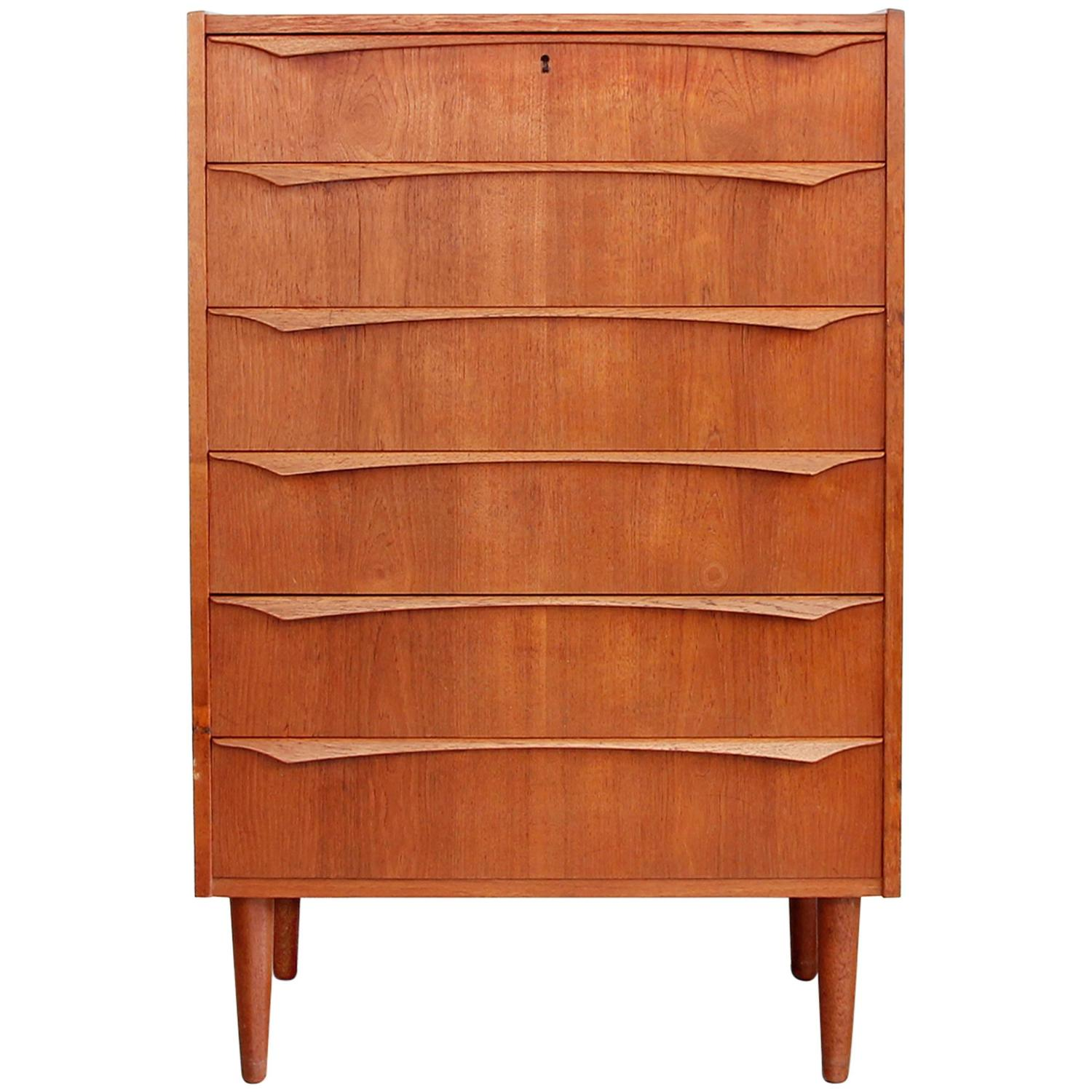 Tall danish modern teak chest of drawers mid century