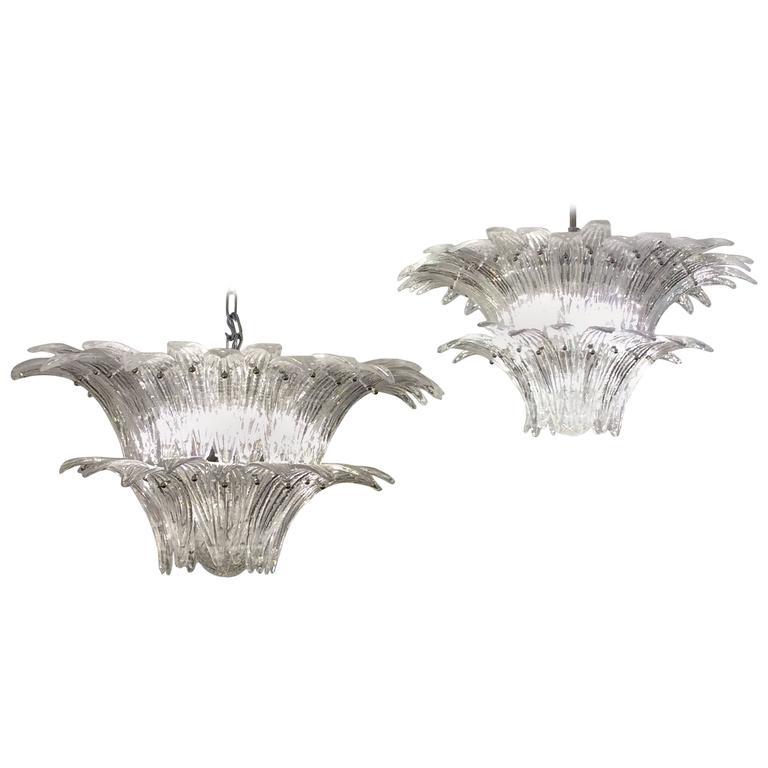 "Pair of Venetian Chandeliers ""Palm Tree"" Murano Glass Chandeliers, 1970"