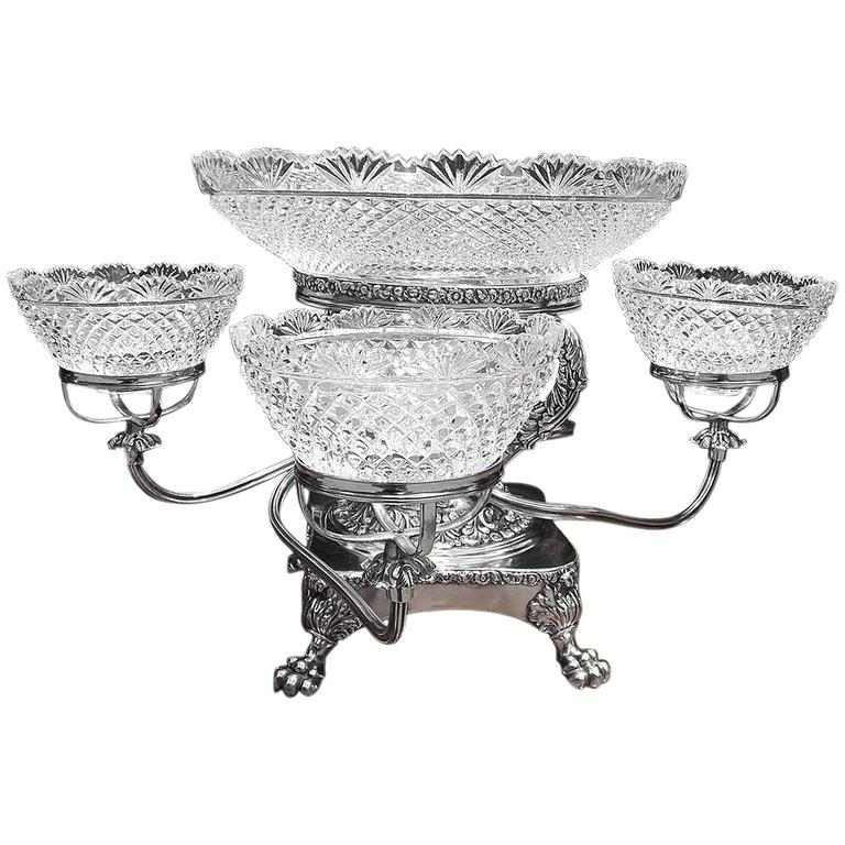 English Sheffield Cut Crystal Acanthus & Berry Epergne, Circa 1830