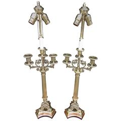 Pair of French Brass Candelabra Lamps with Eagle Acanthus Motif, Circa 1820
