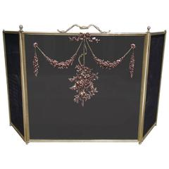 French Brass & Copper Decorative Ribbon Floral Swag Fire Screen,  Circa 1850