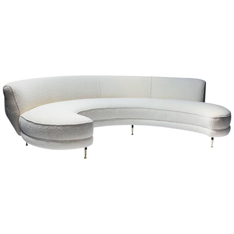 High Quality Italian Curved Sofa With Brass Legs For Sale