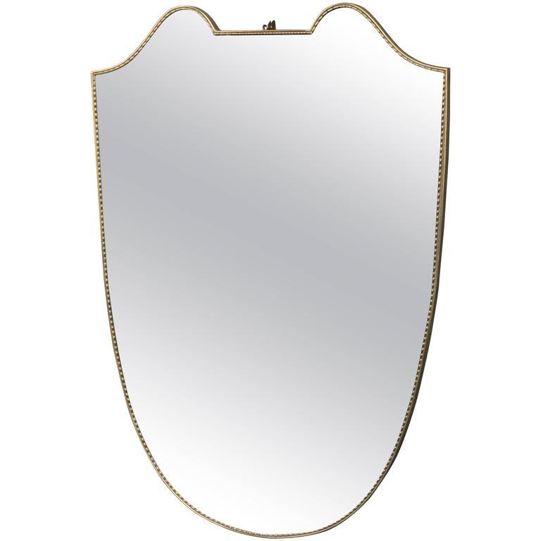 Italian Mid-Century Modern Shield Shaped Mirror