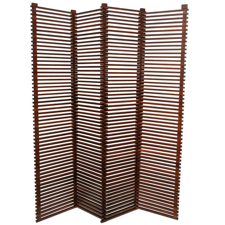 mid-century modern tall solid wood slat room divider/screen