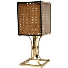 Bronze Table Lamp Art Deco circa 1940 Mounted with a Cane and Glass Lampshade