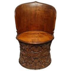 Sculptural Anglo-Indian Tropical Wood Seat