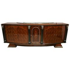 French Art Deco Rosewood Side Board in the Style of Jules Leleu