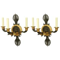 Pair of Empire Bronze Lion Head Sconces