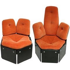 Two Scandinavian wMid Century Orange Lounge Seats  by SILKEBORG