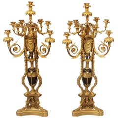 Exceptional Pair of 19th Century Gilt Bronze and Enamel Candelabra