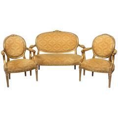 19th Century Three-Piece Louis XVI Style Giltwood Parlor Set