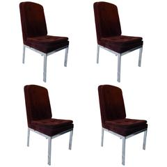 Set of Four Chrome and Velvet Dining Chairs