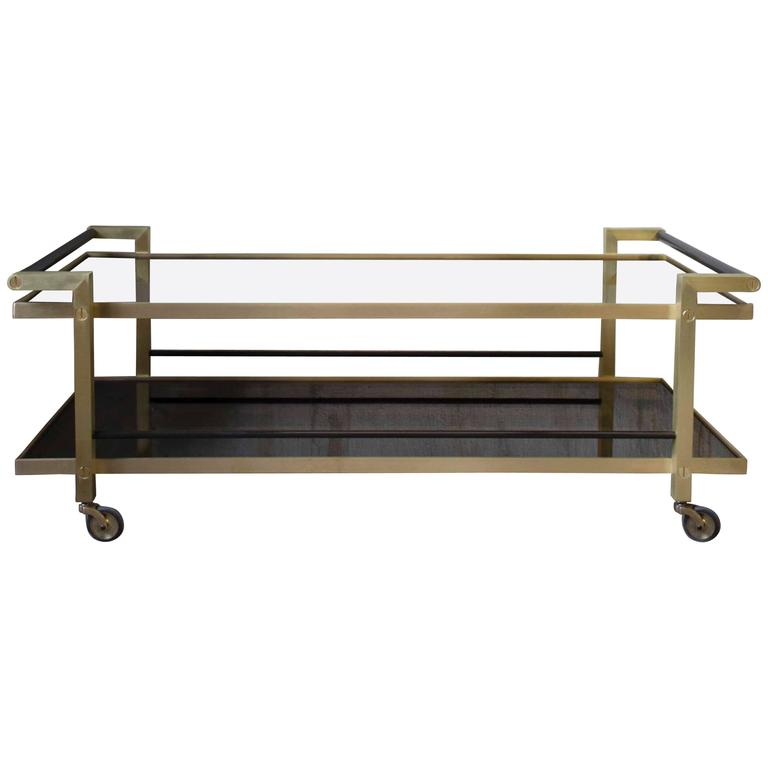 Modern Style Kent Coffee Table W/ Wheels And Brass And