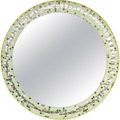Large 1960s Mirror Tiles and Pastel Colors Mosaic Circular Mirror