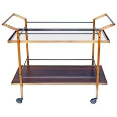 Modern Style Kent Bar Cart w/ Brass and Steel Construction