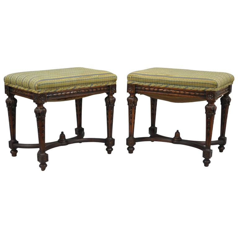 Pair of 1930s French Carved Walnut Louis XV or XVI Style Stools