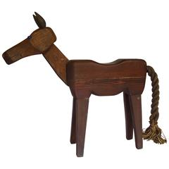 Whimsical Folk Art Wooden Horse Stool