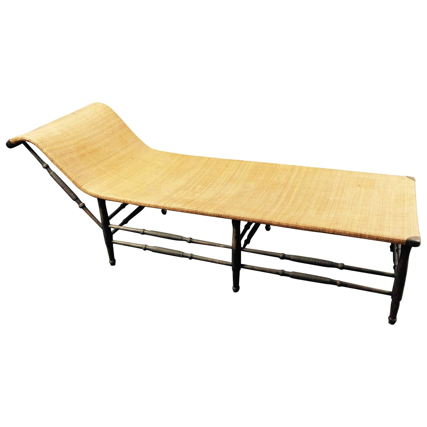 Antique rattan chaise longue for sale at 1stdibs for Antique wicker chaise