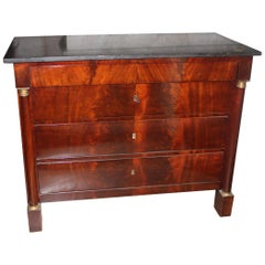 French Empire Mahogany Commode with Bronze Mounts and a Marble Top