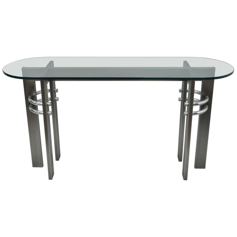 Design Institute of America DIA Brushed Metal, Chrome and Glass Console Table For Sale