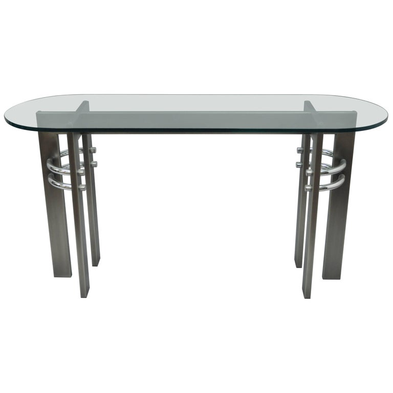 Design Institute of America DIA Brushed Metal, Chrome & Glass Console Sofa Table For Sale