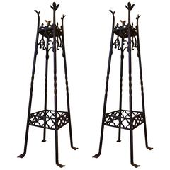Pair of Art Nouveau Wrought Iron Plant Stand in Gothic Revival Style,Spain
