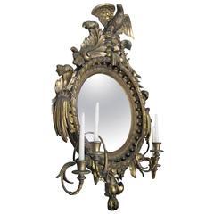 19th Century American Giltwood Convex Girandole Mirror