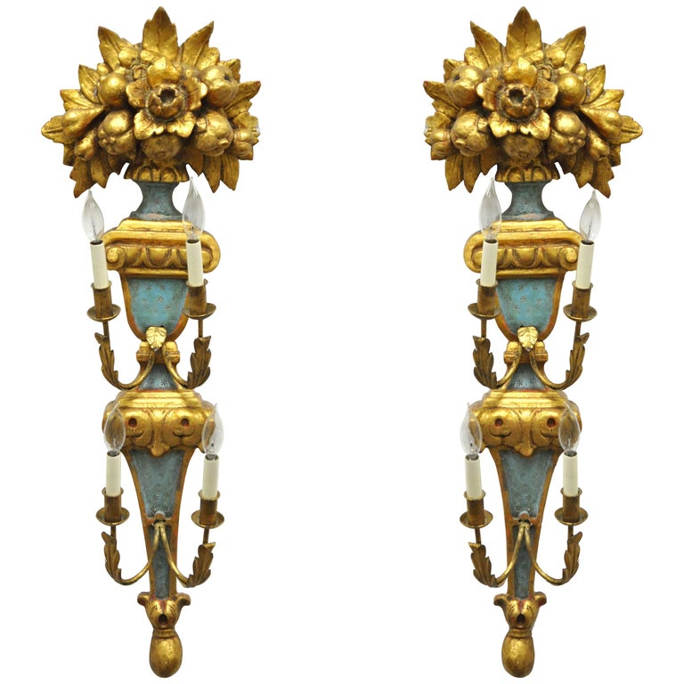 Pair 1950s Flower Carved Giltwood Italian Style Four Light Wall Sconces by Masa